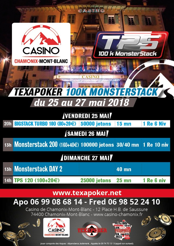 Poker tournoi monsterstack 26 05 2018 chamonix mont blanc